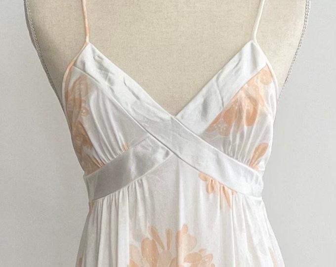 Low Back Nylon Nightgown Nightie Vintage Saks Fifth Avenue White Nylon Peach Floral Print Spaghetti Straps Long Floor Length XS S