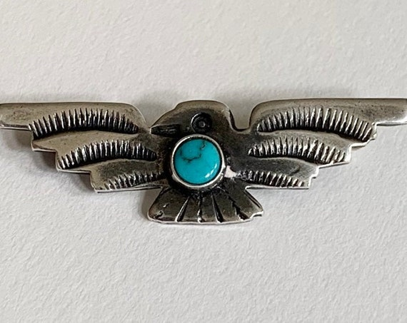Turquoise Thunderbird Pin Fred Harvey Era Vintage Sterling Silver Brooch Pins Small Size