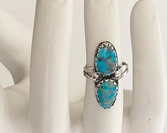 Double Turquoise Stone Ring Vintage 70's Navajo Sterling Silver Elongated Statement Ring Size 7.75
