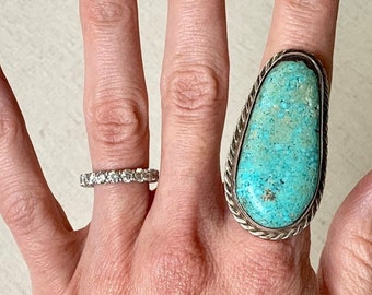 d6be1678b1bca1 Big Turquoise Ring Sterling Silver Vintage Native American Navajo Sterling  Silver Long Elongated Size 8 9