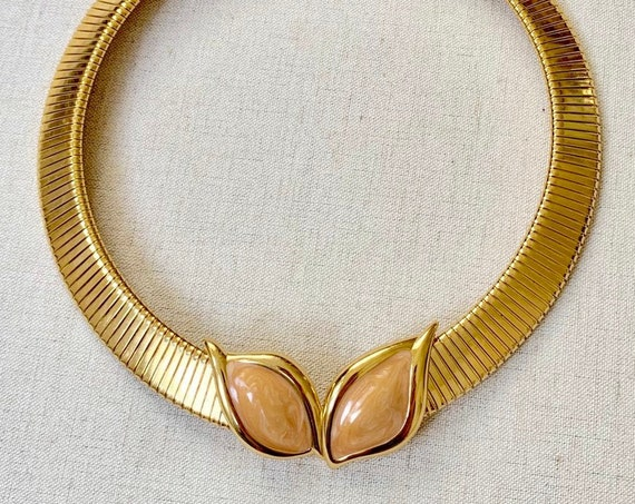 80s Gold Choker Necklace Vintage Monet Slinky Serpentine Liquid Link Pearlized Peach Enamel Magnetic Snap Closure Disco Glam Evening