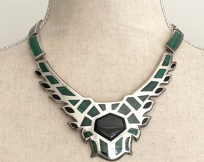 Stunning Taxco Malachite Necklace Heave 156g Fine 950 Silver Heavy Malachite Black Onyx Inlay Bib Necklace Link Chain Made in Mexico