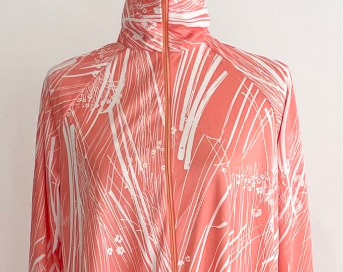 70s Dress Caftan Kaftan House Dress Maxi Ankle Length Vintage Elaine Sklar Abstract Peach White Brushstroke Floral Print Zip Mock Neck S M