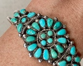 Zuni Turquoise Cluster Bracelet Cuff Vintage Native American Artist Signed MW Petit Point Needlepoint Floral Radial