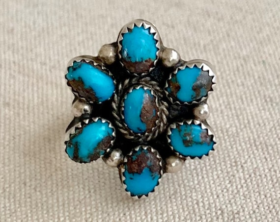 Bright Turquoise Cluster Ring Vintage Old Antique Native American Sterling Silver Floral Flower Radial Size 7.25