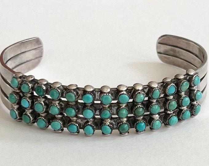 Snake Eye Turquoise Cuff Bracelet Vintage Fred Harvey Era Triple 3 Rows 36 Petit Point Stones Stamped Band