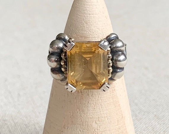 Lagos Ring 18K Gold Sterling Silver Vintage Puffy Ribbed Band Women's Designer Jewelry Size 8