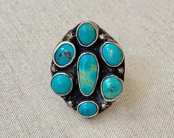 Mens Turquoise Cluster Ring Sterling Silver Vintage 50's Native American Navajo Big Huge Radial Mens Rings Size 10.5