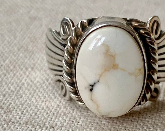 White Buffalo Turquoise Ring Vintage Native American Navajo Sterling Silver Band Artist Signed LRB Size 7.75