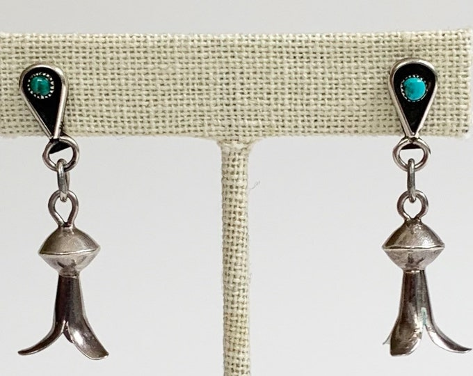 Navajo Squash Blossom Earrings Turquoise Stone Vintage Native American Sterling Silver Dangle Drop Style