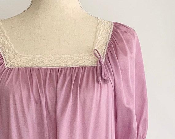 Diane Von Furstenberg Nightgown Vintage 70s Long Floor Length Lavender Lilac Pale Purple Soft Nylon Lace Details Size XS S