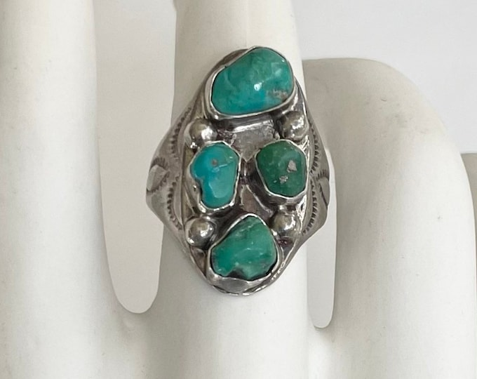 Mens Old Pawn Turquoise Ring Signed VL Large Heavy Oversized Vintage 50s Native American Navajo Multi Stone Stamped Details Size 12.25