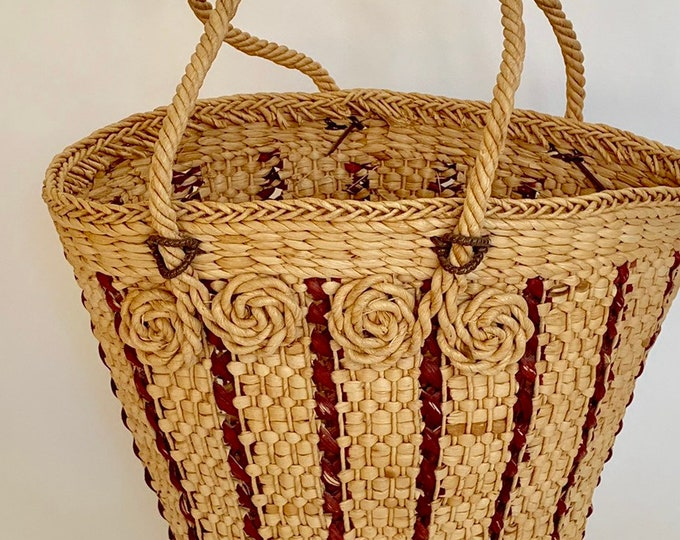 Big Straw Tote Bag Vintage Market Bag Boho Beach Bag Brown Beige Large Size