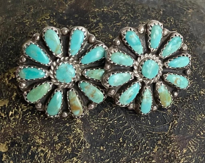 Large Turquoise Cluster Earrings Vintage Southwest Native American Sterling Silver Needlepoint Petit Point Set Stones Artist Signed RO