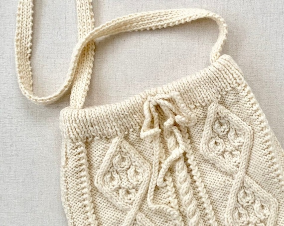 Slouchy Fisherman Knit Purse Hobo Bag Crossbody Vintage Handmade Hand Knit Sweater Natural Winter White Wool