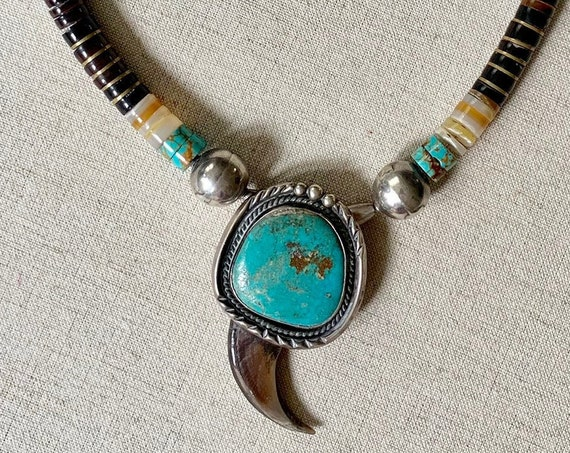 Beaded Turquoise Heishi Necklace Vintage Southwest Native American Santo Domingo Rolled Beads Bead Beaded