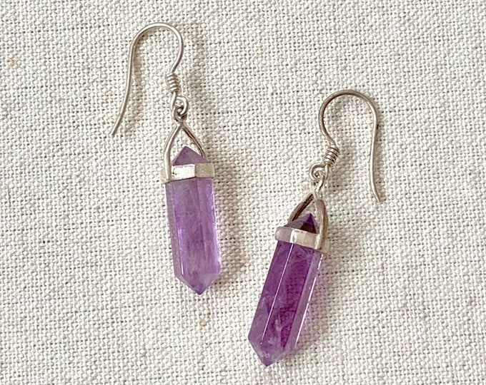 Amethyst Point Dangle Earrings Sterling Silver Long Elongated Stick Purple Healing Crystal February Birthstone
