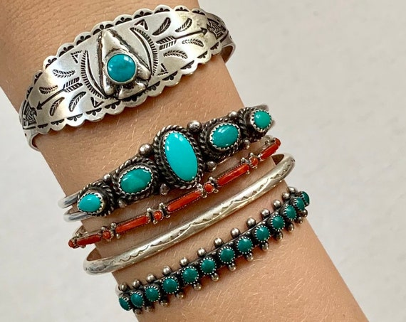 Vintage Turquoise Bracelet Cuff Native American Navajo Zuni Sterling Silver Red Coral Arrowhead Snake Eye Needlepoint