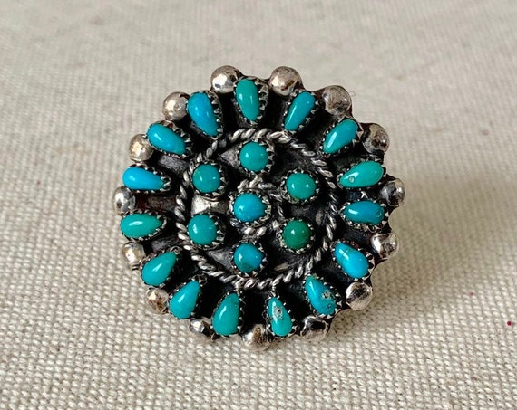 Zuni Turquoise Cluster Ring Vintage Native American Sterling Silver Needlepoint Petit Point Radial Flower Size 6.25
