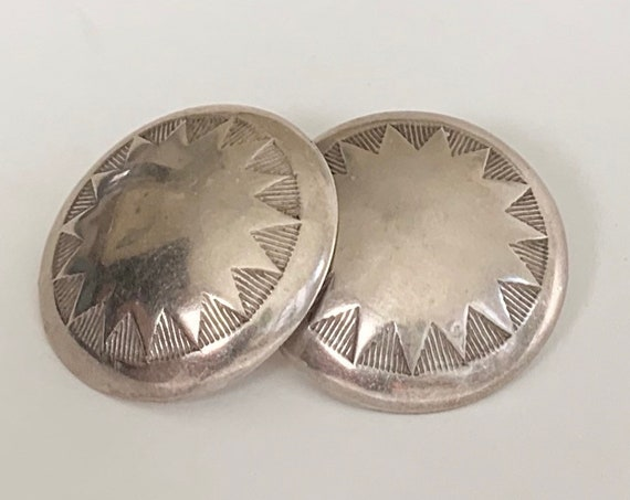 Oversized Sterling Concho Earrings Vintage Native American Navajo Round Disc Etched Stamped Star Sun Design Sterling Silver Studs