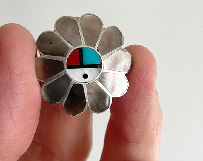 Zuni Inlay Sunface Pin Brooch Sterling Silver Turquoise Mother of Pearl Inlay Vintage Native American Jewelry