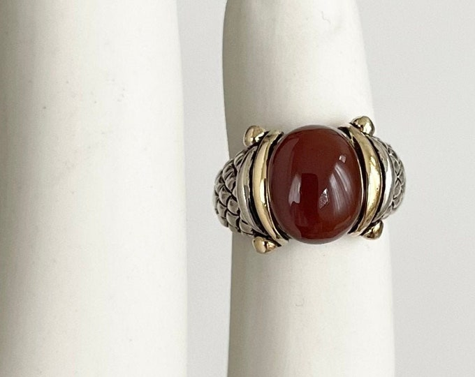 Sterling Silver Snake Ring Band Vintage Boho Jewelry Snakeskin Band Carnelian Stone Made in Thailand Size 5