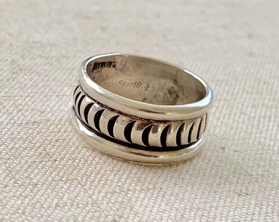 Wide Native American Band Ring Vintage Hand Stamped Sterling Simple Minimalist Stackable Women's Size 8