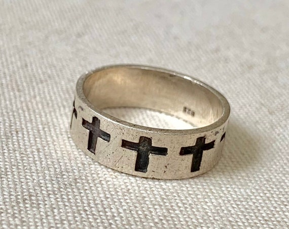Cross Sterling Ring Band Embossed Crucifix Vintage Silver Eternity Band Biker Rings Religious Christian Size 9