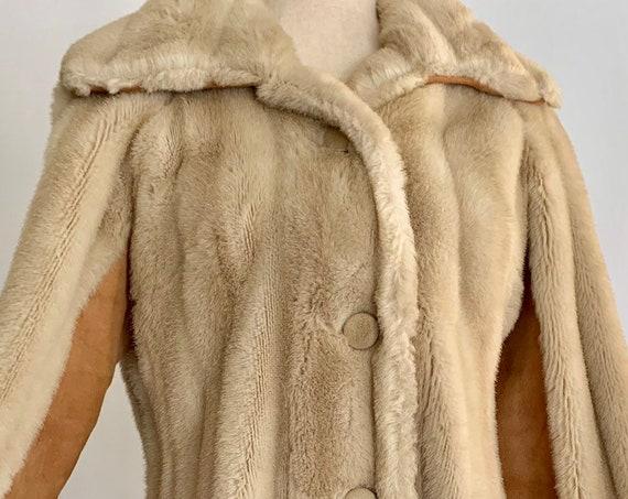 Blonde Faux Fur Coat Jacket Vintage 60s Mark Klaus Mid Length Suede Panel Details Women's Size XS S