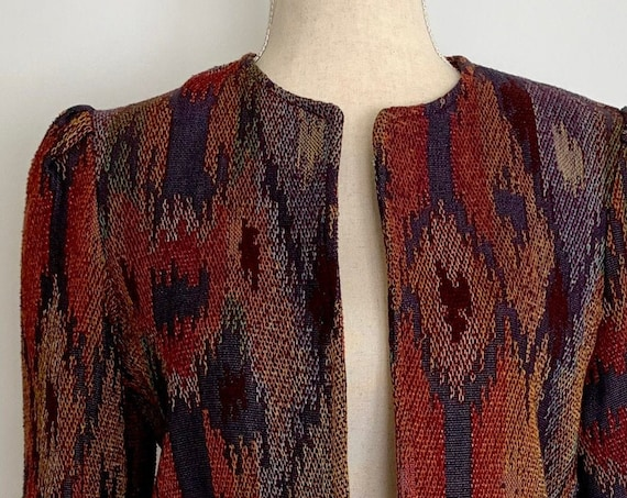 Cropped Collarless Women's Jacket Vintage Southwest Ikat Weave Open Front Puckered Shoulders Size XS