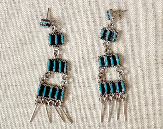 Needlepoint Turquoise Chandelier Earrings Vintage Native American Zuni Petit Point Fringe Long Dangle Earrings Delicate Dainty
