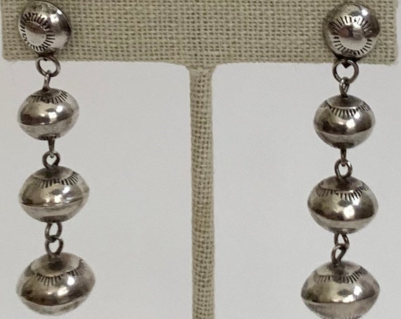 Navajo Pearl Dangle Earrings Vintage Native American Hand Stamped Sterling Silver Ball Beads Bench Beads Long Length