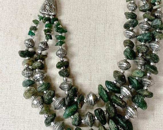 Heavy Aventurine Necklace Navajo Pearl Native American Style Green Stone Bead Beaded Multi Strand Triple 3 Strand