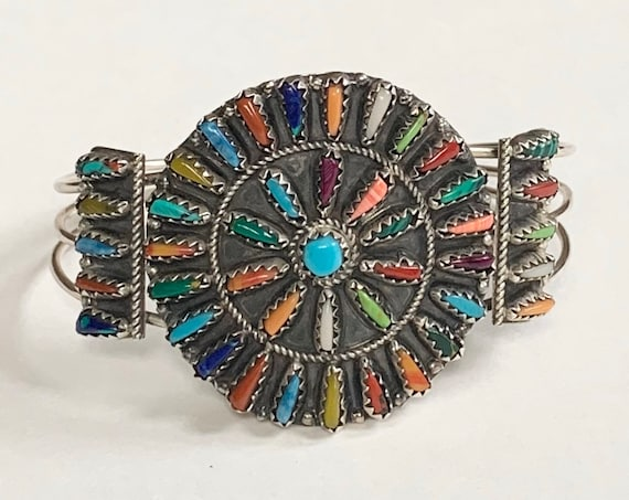Violet Begay Needlepoint Bracelet Cuff Vintage Native American Multi Stone Cluster Turquoise Spiny Oyster Coral Sterling Silver