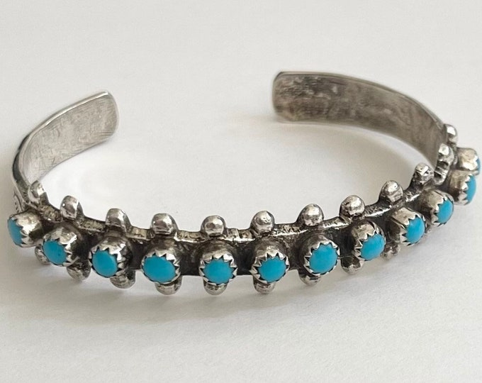 Zuni Turquoise Bracelet Cuff Vintage Native American Sterling Silver Snake Eye Petit Point Set Stones
