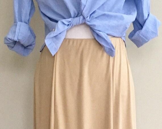 Double D Ranch Skirt Long Maxi Length Vintage Youkam Texas Camel Brown Beige Floor Length Prairie Boho Ultrasuede Size S