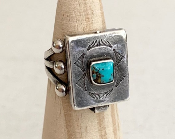 Turquoise Poison Ring Fred Harvey Era Vintage Very Rare Design Stamped Sterling Silver Locket Pillbox Secret Compartment Native American