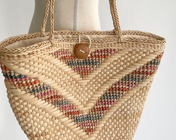 Faded Straw Market Bag Vintage 70s Beige Pastel Weave Wood Button Closure Cotton Lined Beach Bag