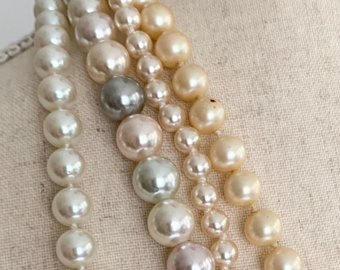 Layering Pearl Necklace Lot of 4 Necklaces Vintage 80's Costume Jewelry Pastel Multi Color Faux Pearls Strands Beaded Gold Tone Clasp