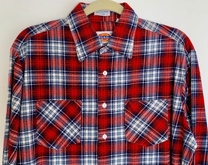Mens Lumberjack Flannel Shirt Vintage Dickies Button Up Red White Blue Plaid Work Shirt