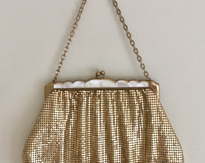 Gold Chain Mail Purse Evening Bag Handbag Vintage 50s Whiting & Davis Glam Evening Mother of Pearl Trim