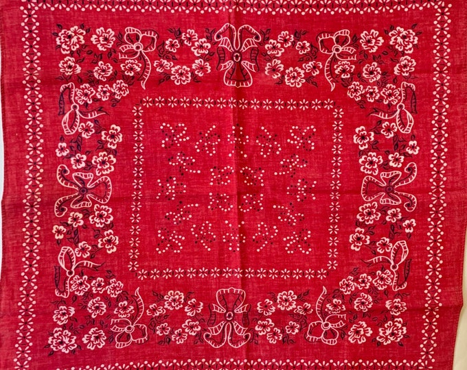 Elephant Trunk Down Bandana Vintage 40s 50s Collectible Fast Color Red Desert Rose Print Cowboy Bandana Scarf