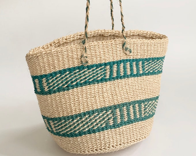 Vintage Sisal Straw Bag Purse Leather Straps Natural White Aqua Turquoise Striped Beach Bag Tote Excellent Condition Clean Interior