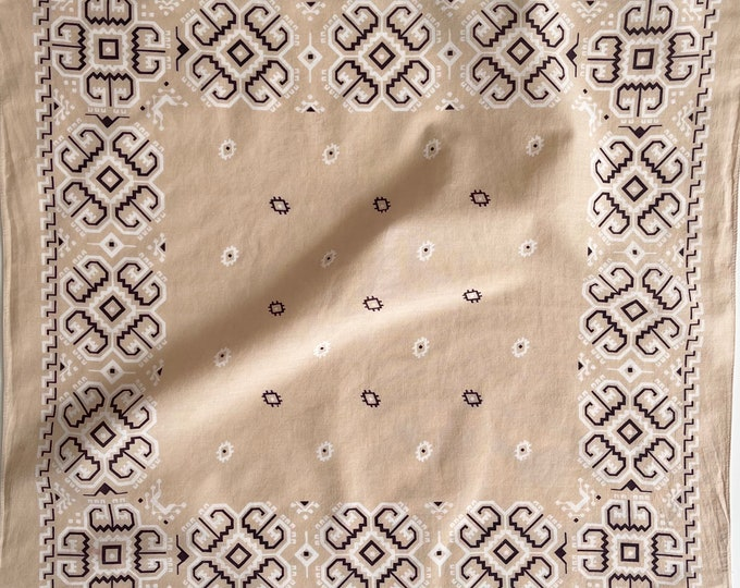 Beige Geometric Bandana Vintage 60s 70s Fast Color Very Soft Cotton Rare Pale Beige Black White Colorway