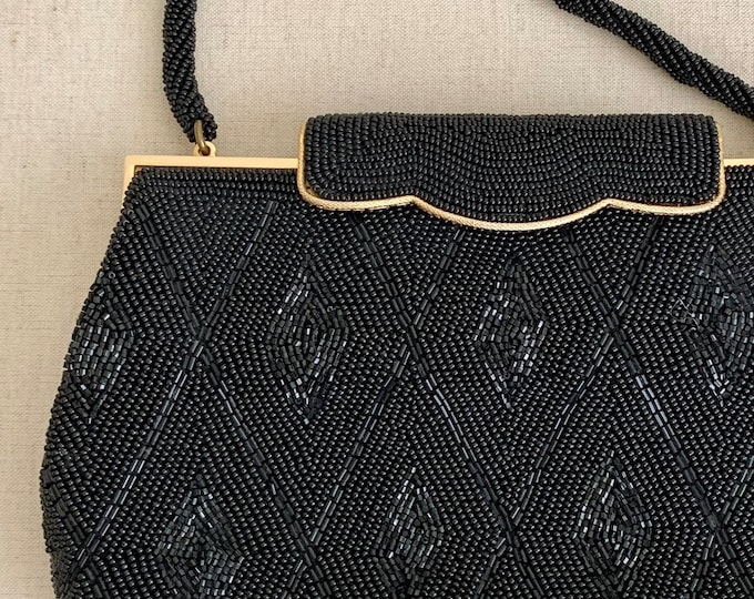 Italian Black Beaded Clutch Purse Evening Bag Vintage Mid Century Glass Beads Made in Japan Gold Tone Frame Black Tie
