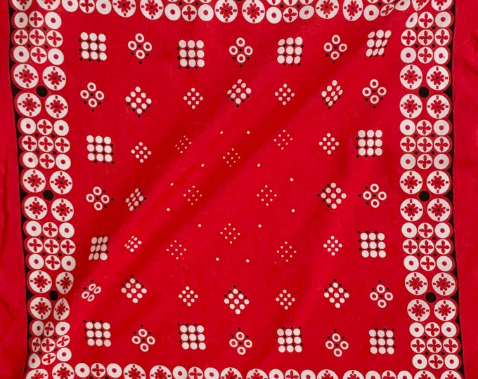 Fast Color Red Bandana Vintage 70s Lightweight All Cotton Circle Dot Print Cowboy Scarf Vintage RN 15898