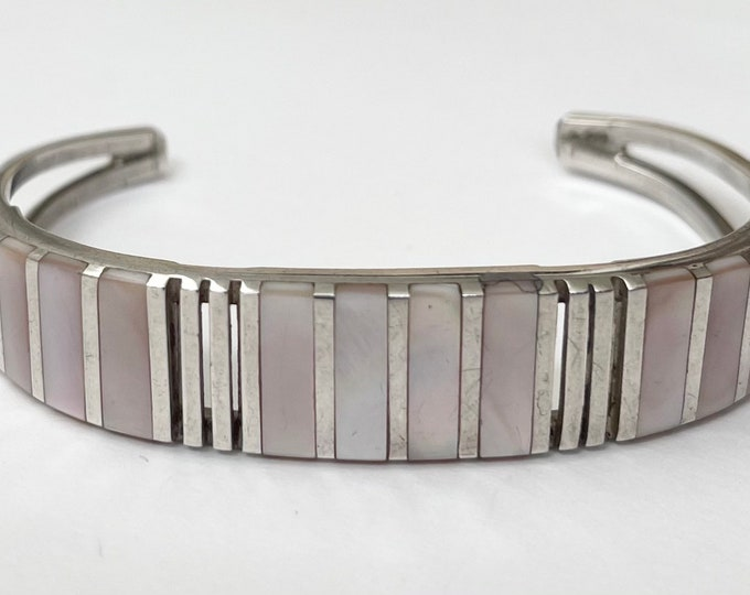 Native American Modernist Bracelet Cuff Sterling Silver Zuni Mother of Pearl MOP Flush Inlay