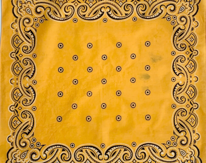 60s Marigold Cotton Bandana Black White Orange Paisley Print Vintage Washfast Colors Soft All Cotton
