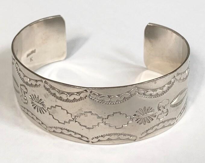Navajo Stamped Cuff Bracelet Sterling Silver Vintage Native American Hand Stamped Wide Band Artist Signed K Keith James