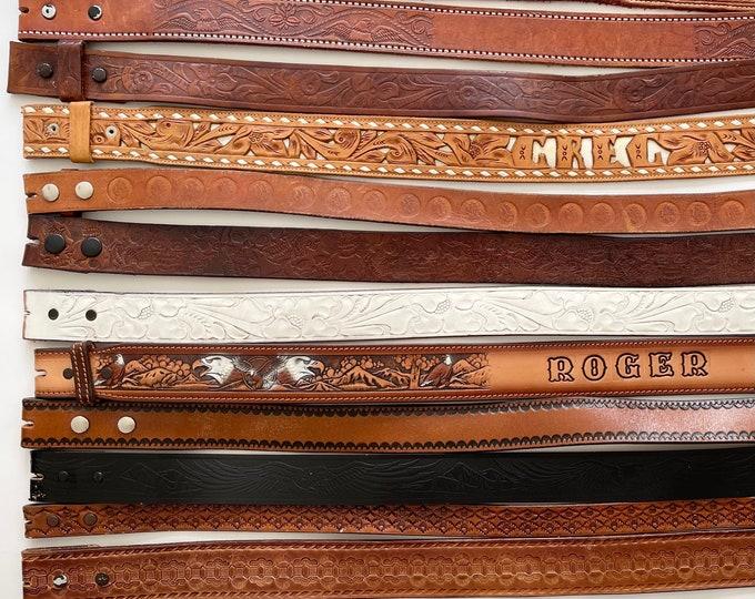 Western Leather Belt Strap Vintage Snap On Detachable Brown Black Distressed Rugged Western Mens Women's Western Belt Strap for Buckle